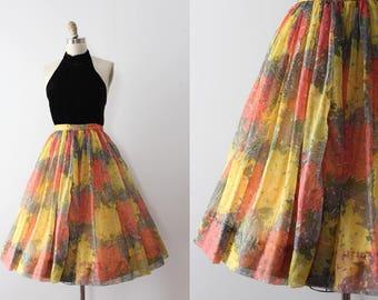 vintage 1950s skirt // 50s colourful chiffon skirt