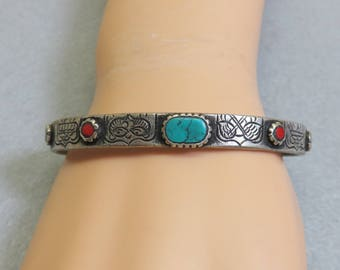Vintage Ethnic Look Turquoise  and Coral Petite Cuff  Bracelet