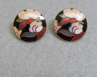 1980s Floral Cloisonne  Pierced Earrings