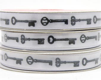 3/8 inch Victorian Skeleton Key Ribbon, Black and White Ribbon with Antique Key Pattern, White Ribbon with Black Key Design, 3 yard roll