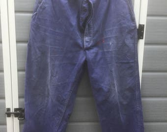 Vintage French work trousers paint splattered and ripped