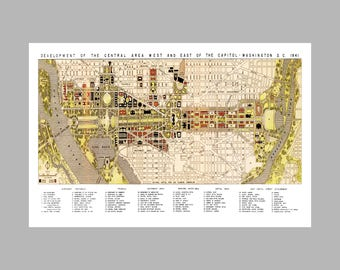 Washington DC Map - Panoramic - Map - Vintage - The Mall