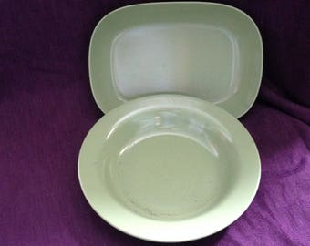 Vintage Melamine Dinnerware Canada - 1 Green Large Melmac Bowl and 1 Green Melmac  Serving Dish - At Everything Vintage Shipping is on Us!