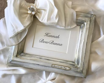 Photo Frame Wedding White Bow Jewel Rose Floral Baby Anniversary