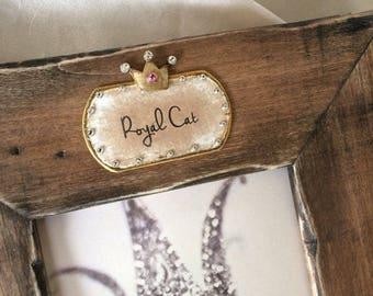 Cat Photo Frame Personalize Pet Gift Rustic Wood Customize Name Pet Lover Pet Bling Pet Gift Cat Lady Grumpy Cat CoolCat Fat Cat Siamese Cat