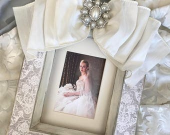 Wedding Frame Bow Jewel Personalized Damask Grey Ivory Pearls Diamonds Baby Gift Idea Shower Silver Gold Anniversary Bridal Plaque