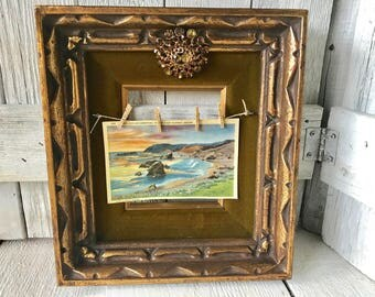 Vintage gold frame embellished velvet rhinestone brooch changable photo- free shipping US