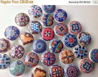 SUMMER SALE 6 wooden drawer knobs; Talavera design  hand decorated (decoupaged)1 1/2 inches (6)1 1/2 inches diameter includes inside coupler