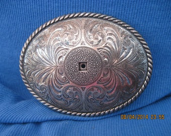 Vintage Silver Embossed Large Belt Buckle...needs a little TLC ...6842...