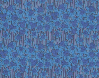 "Liberty Tana Lawn fabric HUBERT - 17"" wide x 13"" (43cm x 33cm) - blue, daffodils"