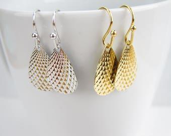 Dangle earrings, Pineapple design charm, sparkling charm, simple dangle earrings