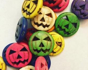 Great Sale Howlite Pumpkin Beads 15 mm 21 Beads Multicolor