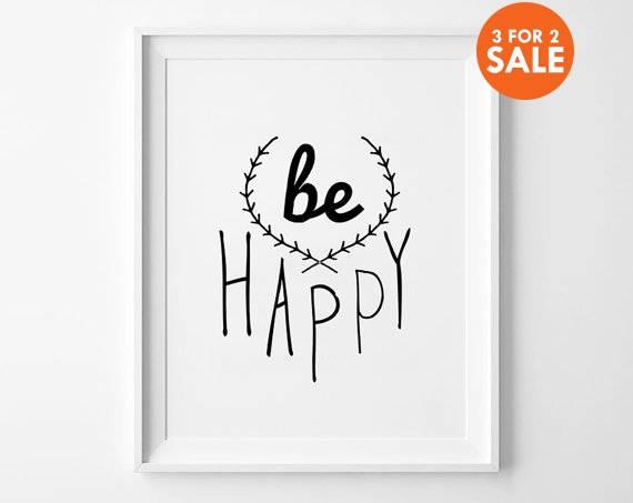 be happy nursery decor wall art kids room decor poster. Black Bedroom Furniture Sets. Home Design Ideas