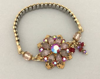 Summer Jewelry Flower Bracelet - Expansion Watch Band Bracelet - Gift for Girlfriend - Rhinestone Floral Bracelet - Unique Upcycled Bracelet