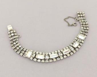 Bridal Rhinestone Bracelet - Clear Rhinestone Jewelry Bridal Bracelet, Vintage Rhinestone Bracelet, Bridesmaid Jewelry Bracelet Gift for Her
