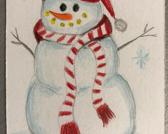 "Happy Snowman ACEO Original 2.5"" x 3.5"" Watercolor Art Card"