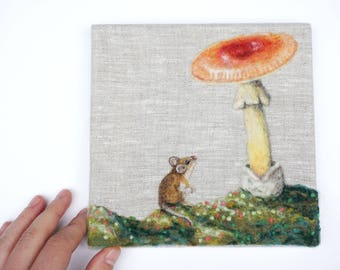 She's a Dreamer - Needle Felted Wool Painting by Dani Ives
