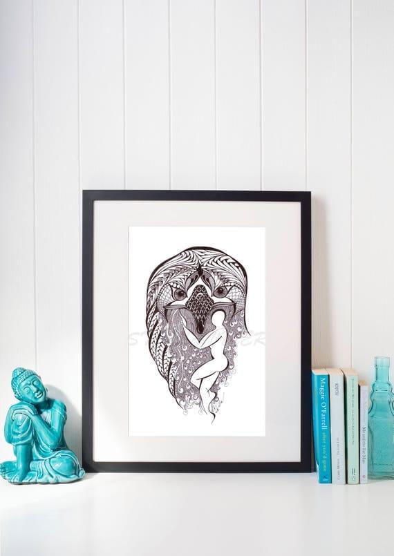 Yoga Art  Zentangle EAGLE Pose -   print from original design and drawing, yoga wall decor