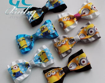 Minion Hair Bows, Gift Set or Birthday Party Favors - You Choose the Hair Clip, Alligator, Snap, Ponytail holder, Headband