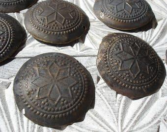 9 x Hazargi very  tarnished dark large  gold colour slightly damaged buttons