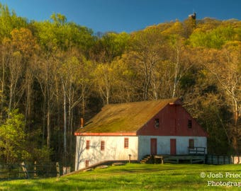 Thompson-Neely Grist Mill, Landscape Photograph, Rolling Hills, Bucks County, Pennsylvania, Trees, Historic, Bowman's Hill Tower, Spring