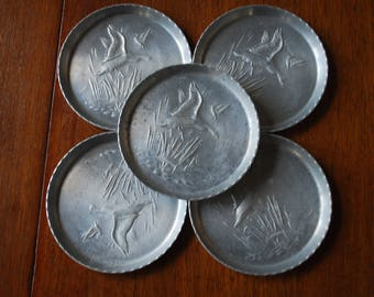 vintage hammered aluminum coasters - set of five - Duck and Cattail themed coasters - Barware - Mancave