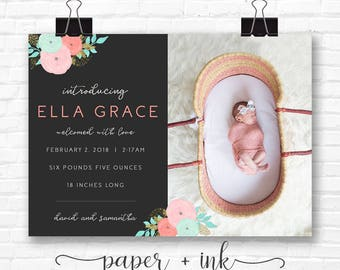 Dark Floral Baby Announcement