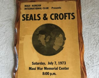 Vintage RARE Seals & Crofts Poster Promo 1973 Decoupaged Wooden Wall Hanging Hippie Decor Large
