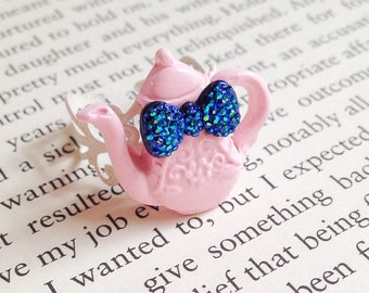 Teapot Ring - Pastel Pink, Alice in Wonderland, Tea Party, Time for Tea, Polymer Clay