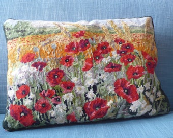 Poppies needlepoint tapestry cushion cover Colefax & Fowler fabric to back