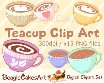 Tea Clipart, Coffee Clipart, Wedding Graphics, Digital Download, Cute Printables, Planner Stickers, Food Clipart, Coffee Illustration, PNGs