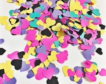 Adorable Heart Confetti in Yellow Purple Hot Pink Teal and Black Confetti over 1000 hearts Paper Hearts Paper Confetti