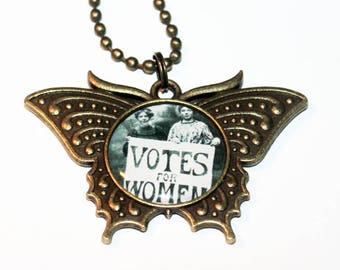 Votes For Women Necklace, Suffragette, Feminist, Feminism, Election, Suffrage, Political Jewelry, Bronze Butterfly Pendant