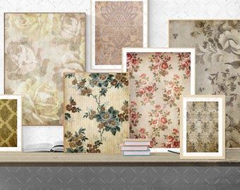 Digital Scrapbooking Papers pack 14 sheets // vintage  brown //Flowers, roses, damask // decoupage, scrap // 8.5 x 11 in sheets,  14 (020us)