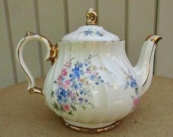 vintage 50s sadler pink blue floral teapot gold gilt trim england