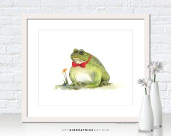 Frog Painting, Tree Frog Print, Frog Greeting Cards, Whimsical Frog Watercolor, Frog Wall Decor, Frog Wall Art, Blind Date