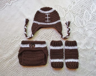 READY TO SHIP - 0 to 3 Month Size - Crochet Football Hat, Leg Warmers and Diaper Cover Photo Prop Set