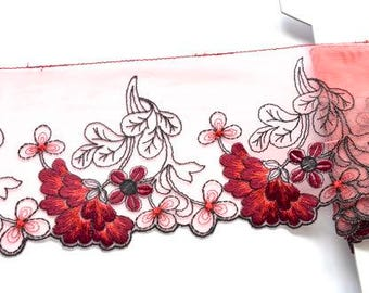 Wine Red Floral Lace Trim, Red Embroidered Trim, Red Floral Dress Trim, Red Lingerie, Embellishments, Upcycling Flower Appliques Trim