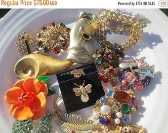 30% OFF SALE Brooch Lot Gold Multi Colored Rhinestones 17 Vintage Pins