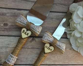 personalized wedding cake cutting set cake cutting server set rustic wedding cake knife and server 18271