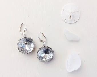Hollywood Earrings in Vintage White Diamond Glass Jewels || Silver Earrings, Wedding, Bridal Earrings, Round Earrings, White Earrings