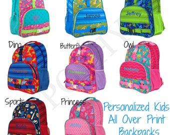Monogrammed Kids Backpack All Over Printed Boys Girls Monogram