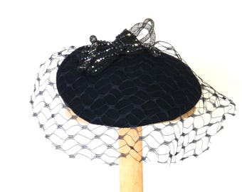 navy felt cocktail hat with vintage veil / winter occasion hat / statement hat /navy fascinator funeral hat UK