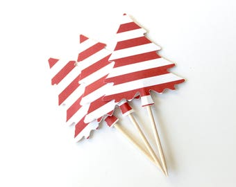 Candy Cane Tree Cake Toppers, Christmas Decor, Holiday Party, Set of 10