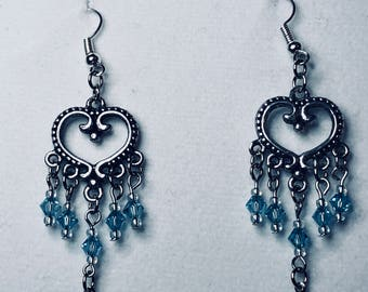 Crystal and hearts earrings.