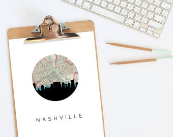 Nashville skyline | Nashville art | Nashville print | Nashville wall art | Nashville map | Nashville poster | city skyline print | map art