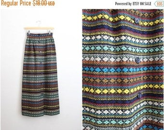 20% OFF SALE // 70s Vintage Southwestern High Waisted Maxi Skirt / Mexican Skirt / Bohemian skirt/ Size XS/S