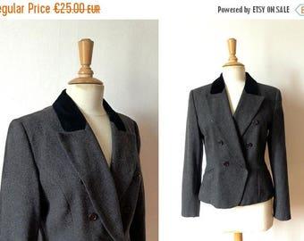 50%DISCOUNT 90s dark grey wool black velvet double breasted fitted blazer 40/10