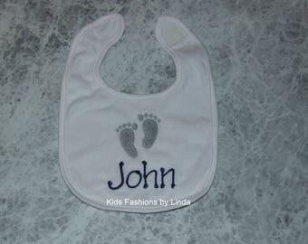 Personalized Baby Feet White Bib