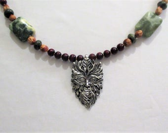 Men's Green Man necklace with Green Cloud Jasper and Boxwood